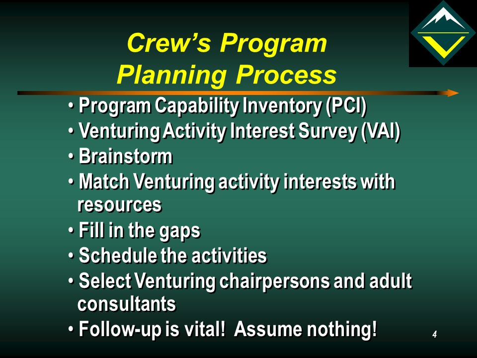 4 Crew's Program Planning Process Program Capability Inventory (PCI) Venturing Activity Interest Survey (VAI) Brainstorm Match Venturing activity interests with resources Fill in the gaps Schedule the activities Select Venturing chairpersons and adult consultants Follow-up is vital.