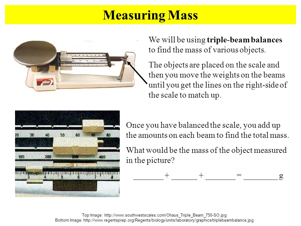 Measuring Mass Top Image:   Bottom Image:   We will be using triple-beam balances to find the mass of various objects.