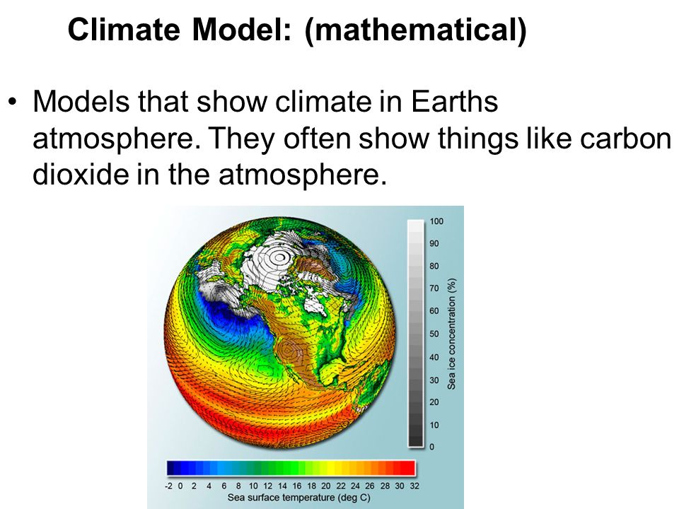 Climate Model: (mathematical) Models that show climate in Earths atmosphere.