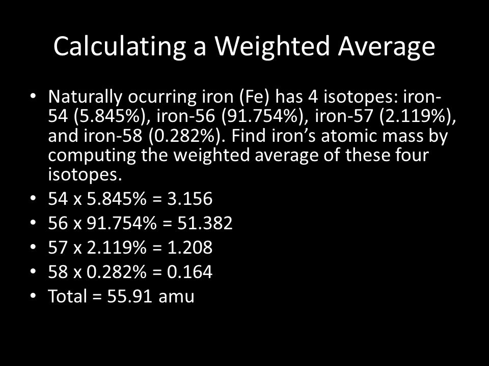 Calculating a Weighted Average Naturally ocurring iron (Fe) has 4 isotopes: iron- 54 (5.845%), iron-56 (91.754%), iron-57 (2.119%), and iron-58 (0.282%).