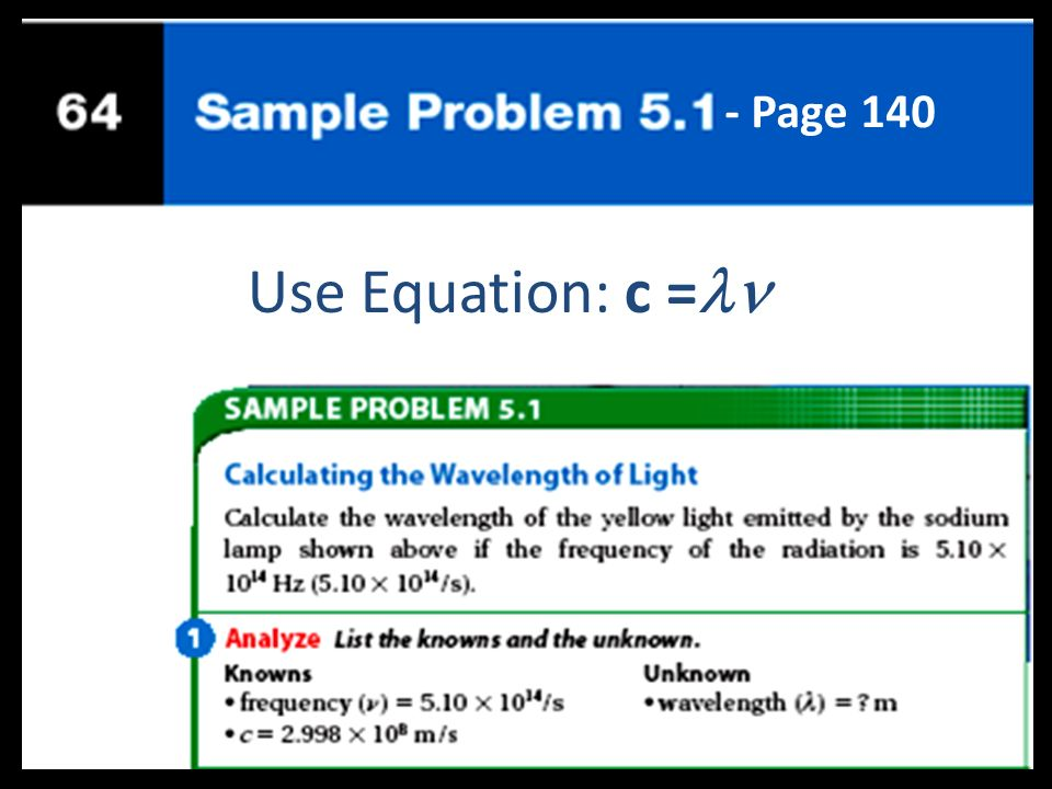 - Page 140 Use Equation: c =