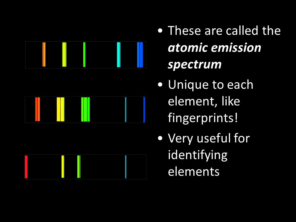 These are called the atomic emission spectrum Unique to each element, like fingerprints.