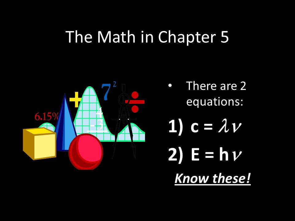 The Math in Chapter 5 There are 2 equations: 1) c = 2) E = h Know these!