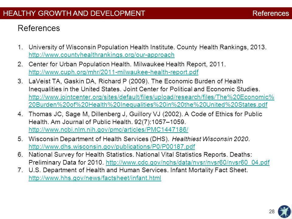 HEALTHY GROWTH AND DEVELOPMENT References 1.University of Wisconsin Population Health Institute.