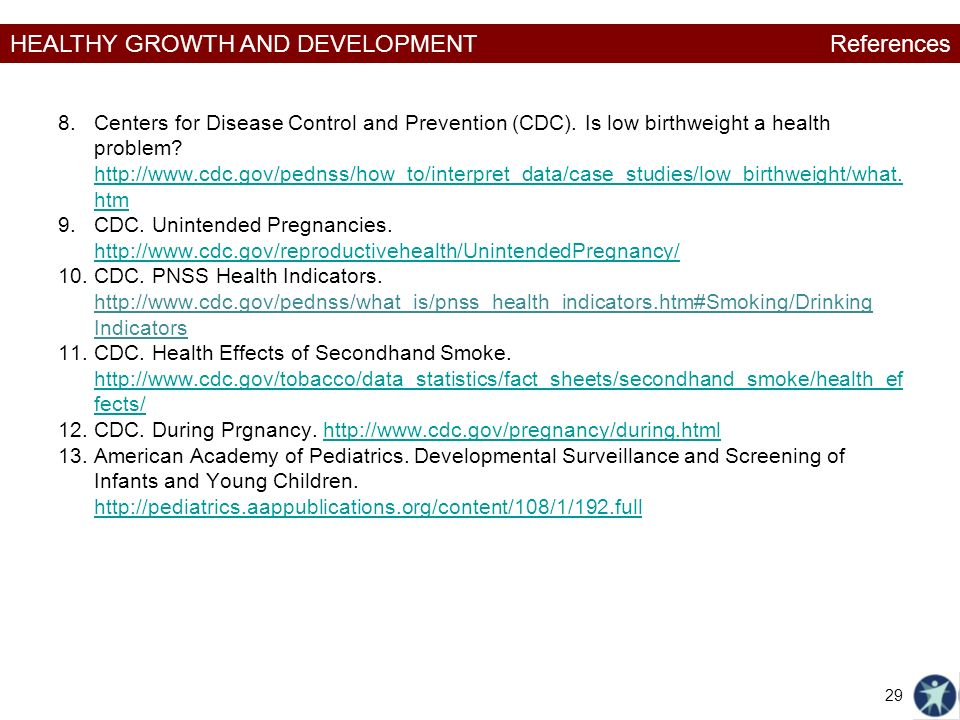 HEALTHY GROWTH AND DEVELOPMENT 8.Centers for Disease Control and Prevention (CDC).