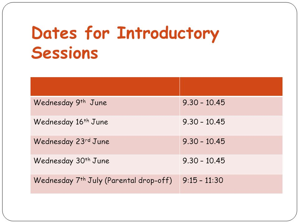 Dates for Introductory Sessions Wednesday 9 th June9.30 – Wednesday 16 th June9.30 – Wednesday 23 rd June9.30 – Wednesday 30 th June9.30 – Wednesday 7 th July (Parental drop-off)9:15 – 11:30