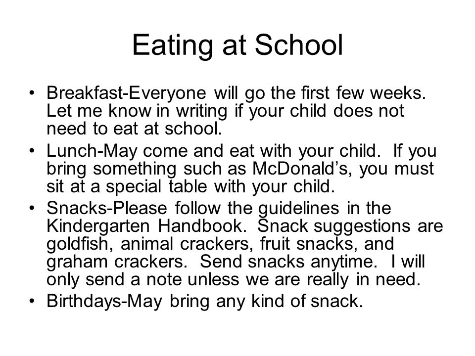 Eating at School Breakfast-Everyone will go the first few weeks.