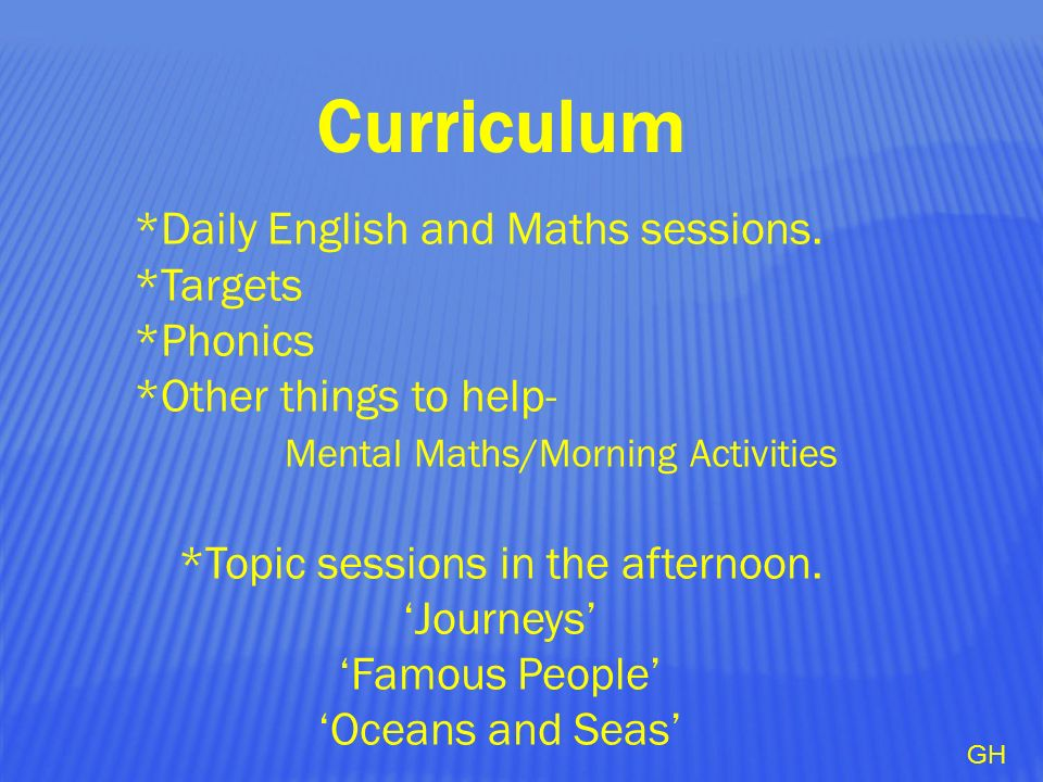 Curriculum *Daily English and Maths sessions.