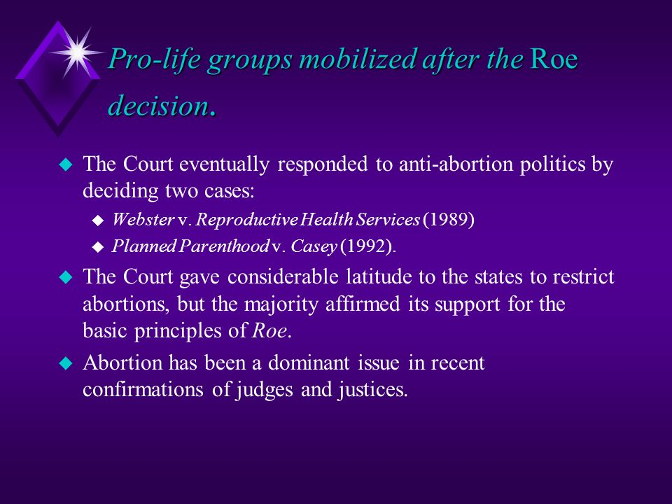 Can you explain the webster V reproductive health services case?