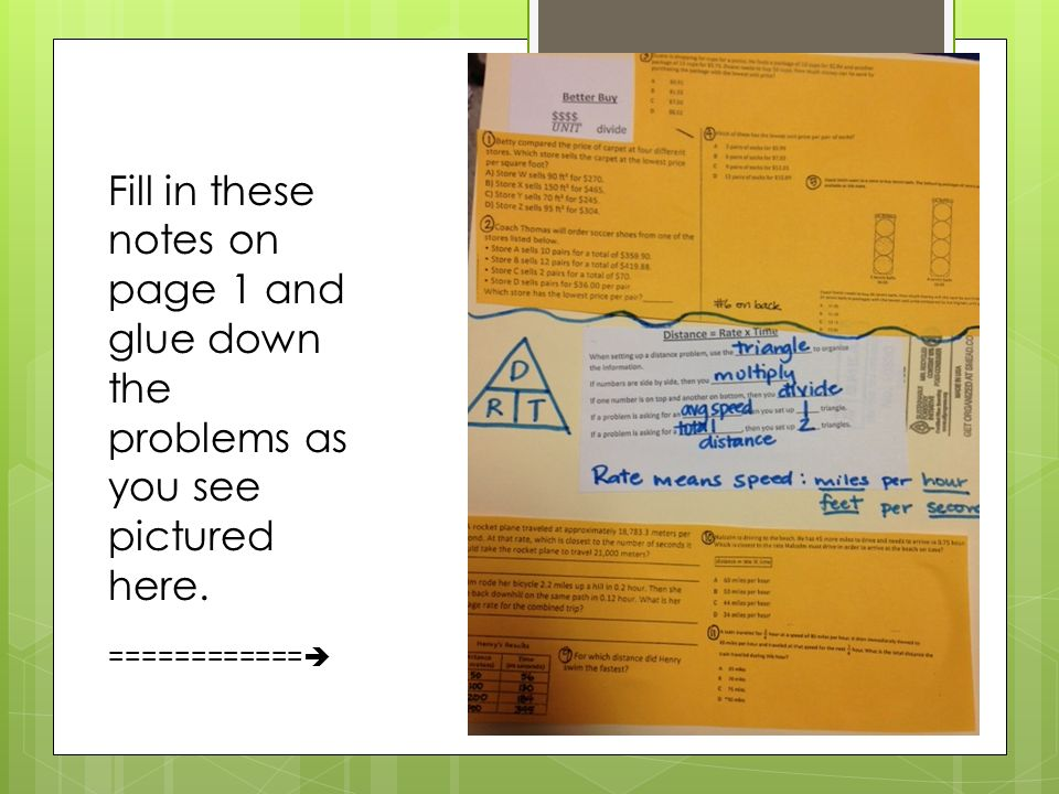Fill in these notes on page 1 and glue down the problems as you see pictured here. ============ 