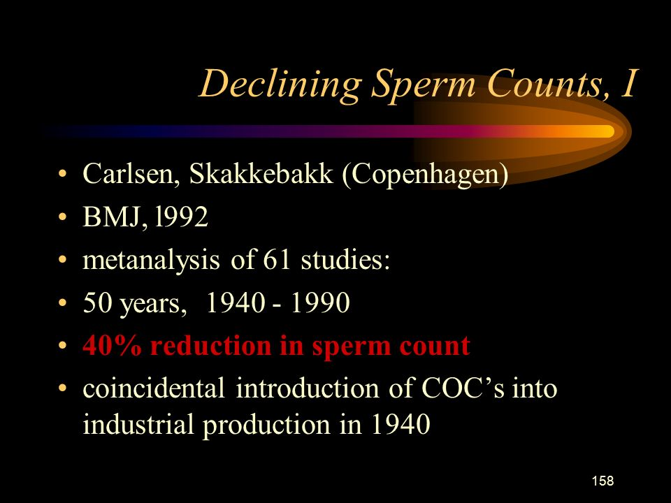 158 Declining Sperm Counts, I Carlsen, Skakkebakk (Copenhagen) BMJ, l992 metanalysis of 61 studies: 50 years, % reduction in sperm count coincidental introduction of COC's into industrial production in 1940