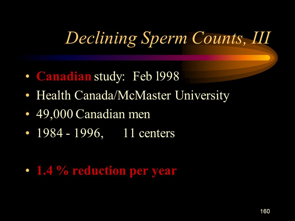 160 Declining Sperm Counts, III Canadian study: Feb l998 Health Canada/McMaster University 49,000 Canadian men , 11 centers 1.4 % reduction per year