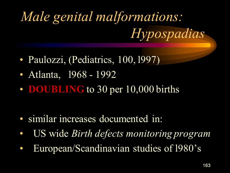 163 Male genital malformations: Hypospadias Paulozzi, (Pediatrics, 100, l997) Atlanta, l DOUBLING to 30 per 10,000 births similar increases documented in: US wide Birth defects monitoring program European/Scandinavian studies of l980's