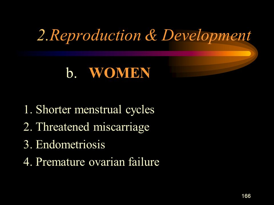 166 2.Reproduction & Development b. WOMEN 1. Shorter menstrual cycles 2.