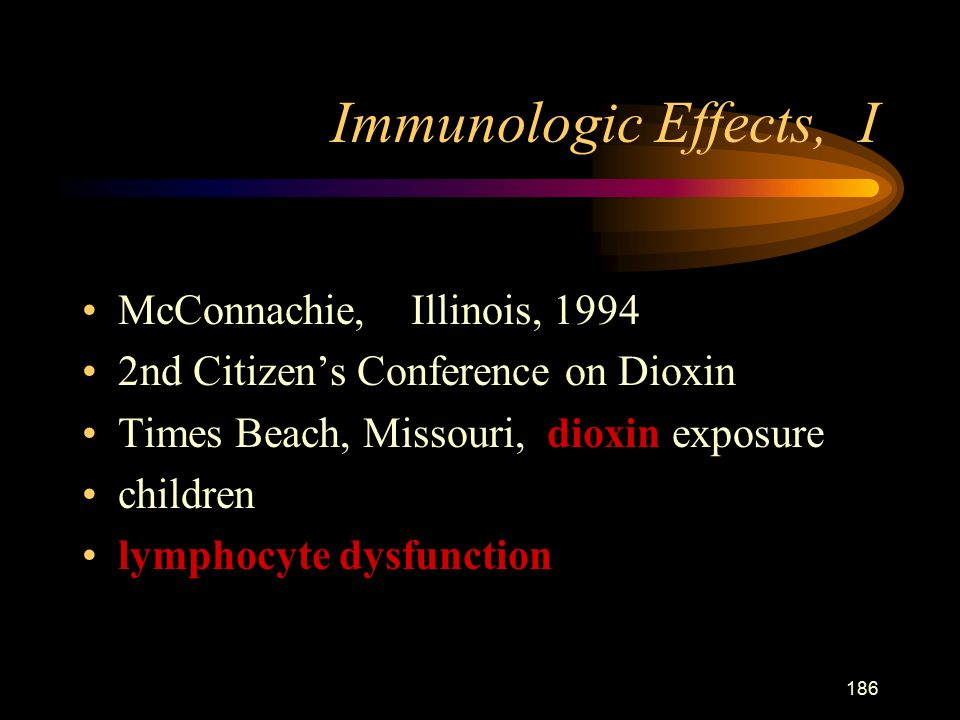186 Immunologic Effects, I McConnachie, Illinois, nd Citizen's Conference on Dioxin Times Beach, Missouri, dioxin exposure children lymphocyte dysfunction