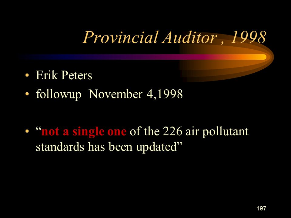 197 Provincial Auditor, 1998 Erik Peters followup November 4,1998 not a single one of the 226 air pollutant standards has been updated
