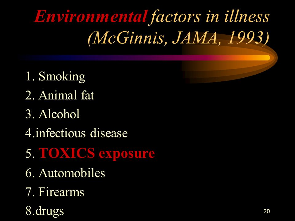 20 Environmental factors in illness (McGinnis, JAMA, 1993) 1.
