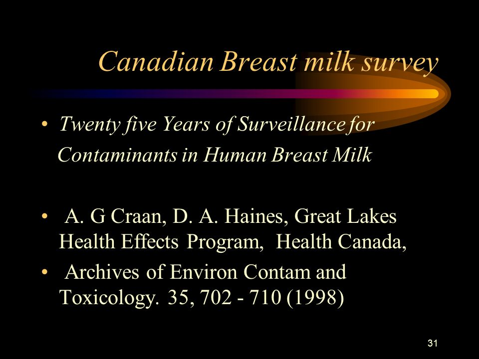 31 Canadian Breast milk survey Twenty five Years of Surveillance for Contaminants in Human Breast Milk A.