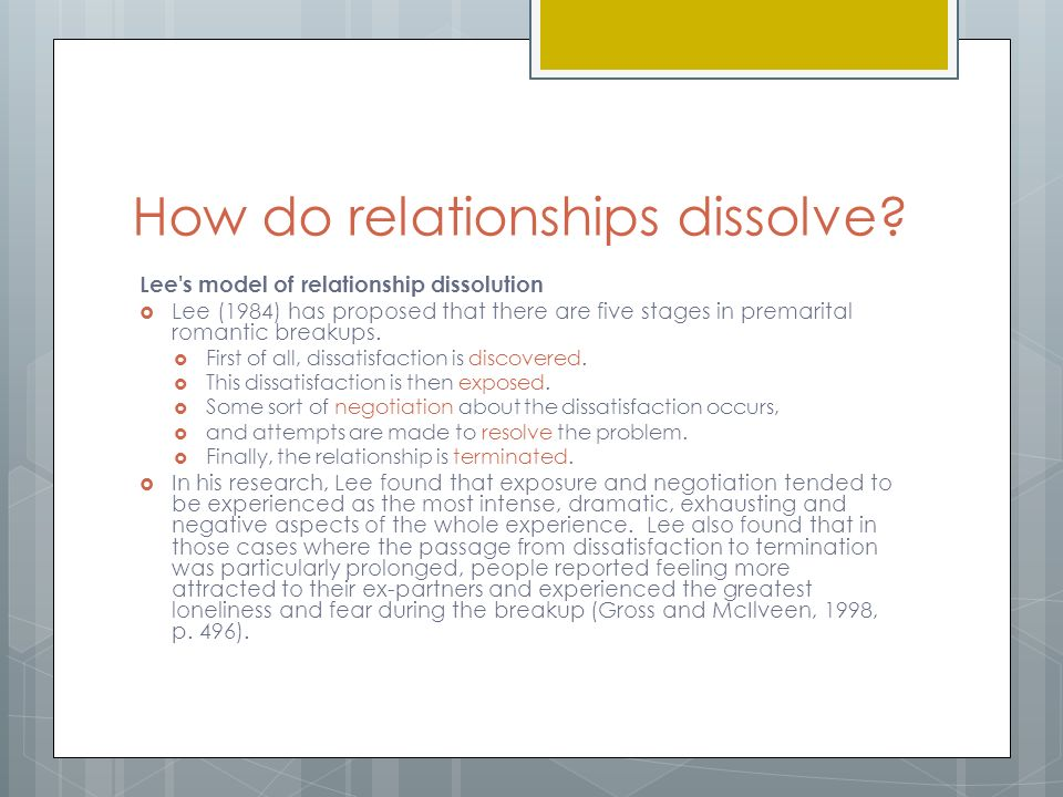 Dissolution of relationships essay