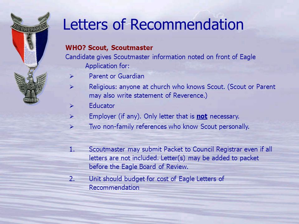 52 letters of recommendation who scout