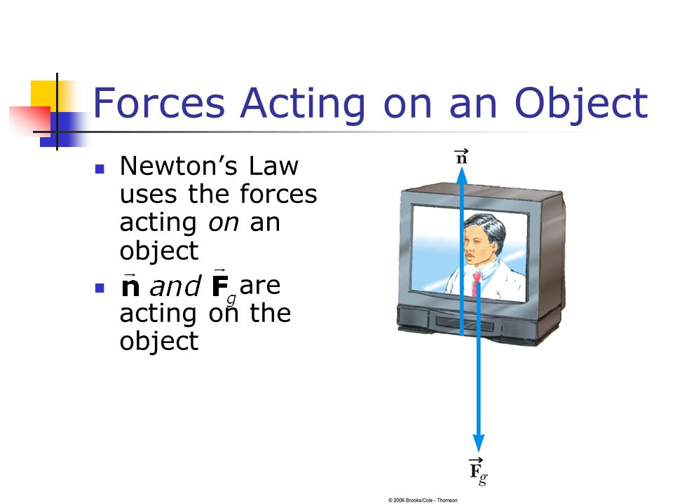 Forces Acting on an Object Newton's Law uses the forces acting on an object are acting on the object