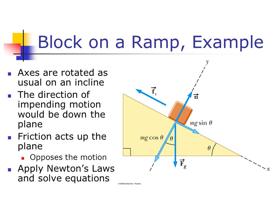 Block on a Ramp, Example Axes are rotated as usual on an incline The direction of impending motion would be down the plane Friction acts up the plane Opposes the motion Apply Newton's Laws and solve equations