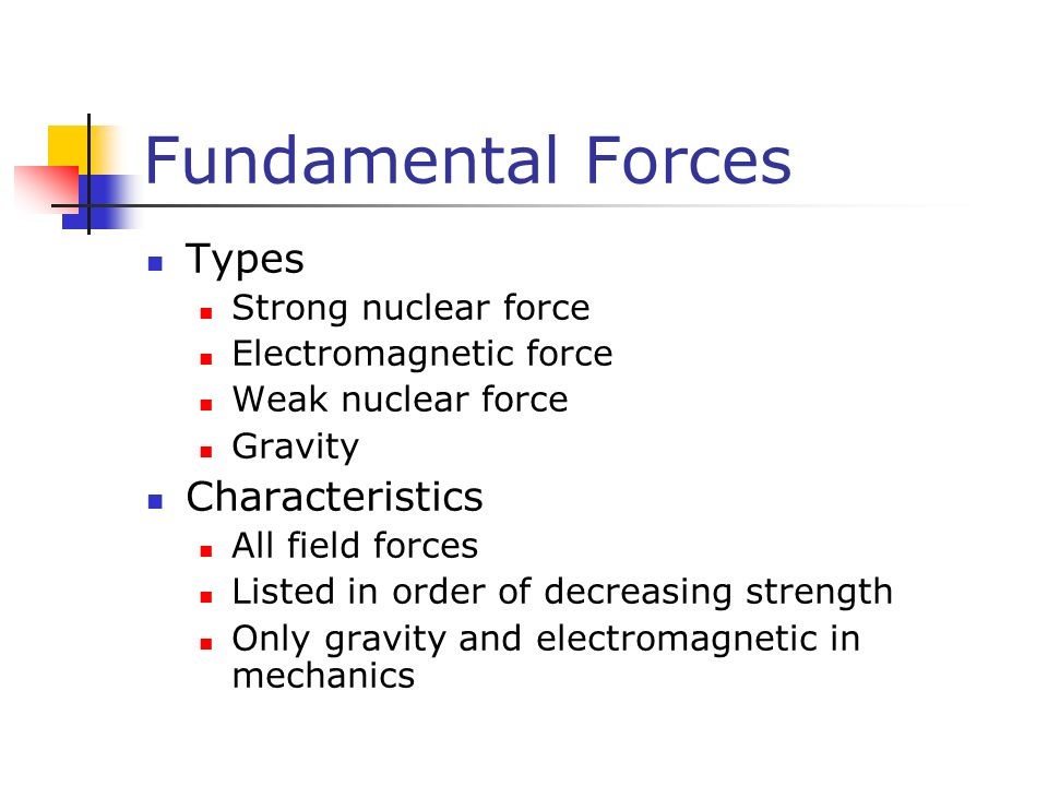Fundamental Forces Types Strong nuclear force Electromagnetic force Weak nuclear force Gravity Characteristics All field forces Listed in order of decreasing strength Only gravity and electromagnetic in mechanics