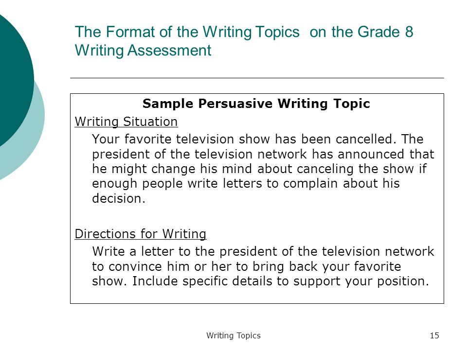 grade writing assessment introduction scoring  writing topics15 the format of the writing topics on the grade 8 writing assessment sample persuasive
