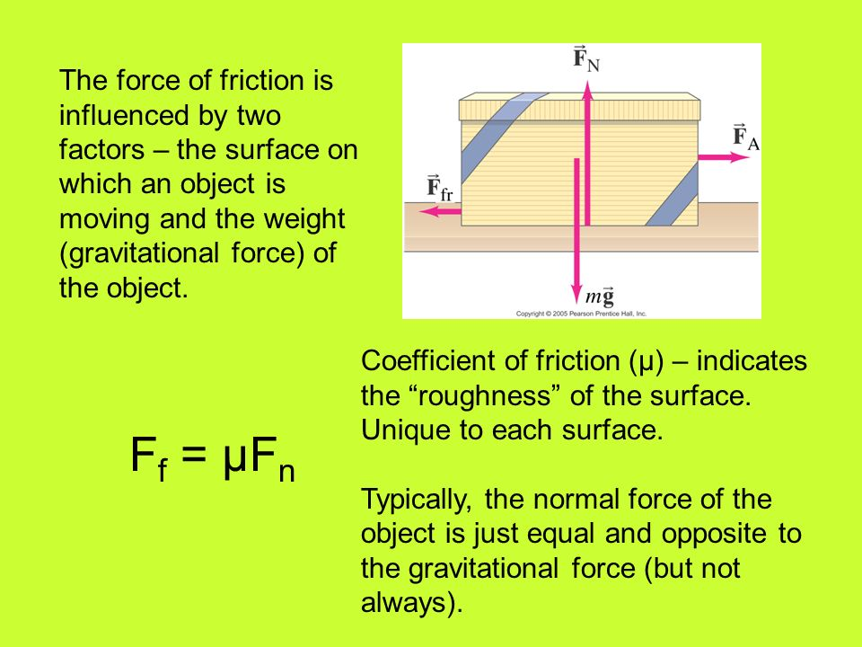 The force of friction is influenced by two factors – the surface on which an object is moving and the weight (gravitational force) of the object.