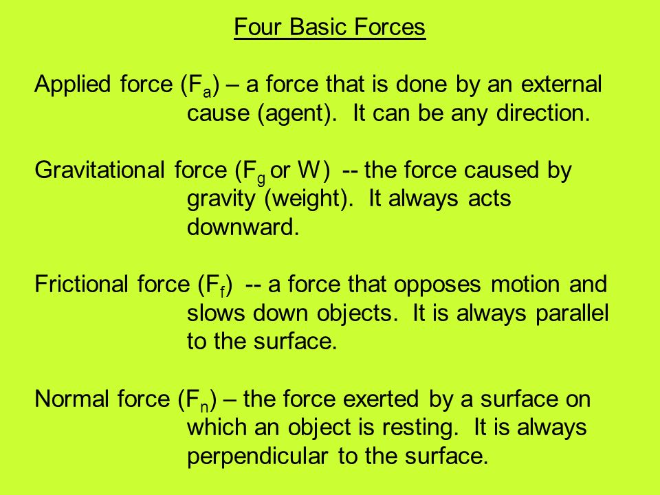 Four Basic Forces Applied force (F a ) – a force that is done by an external cause (agent).
