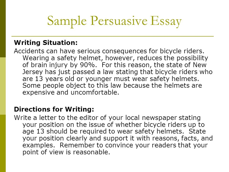 persuasive essay i Follow the simple tips below for persuasive essay writing made easy the persuasive essay can be compared to a sales pitch, except it.