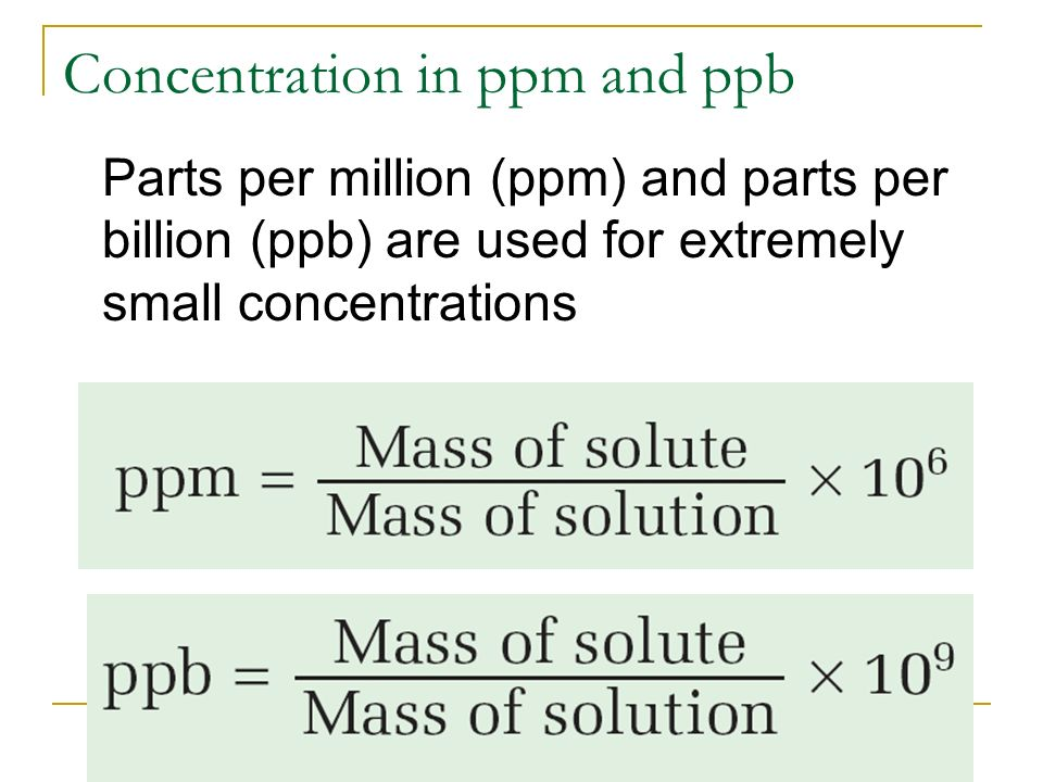 Worksheets Parts Per Million Problems Worksheet solution chemistry chp 7 solutions terms molar concentration in ppm and ppb parts per million billion