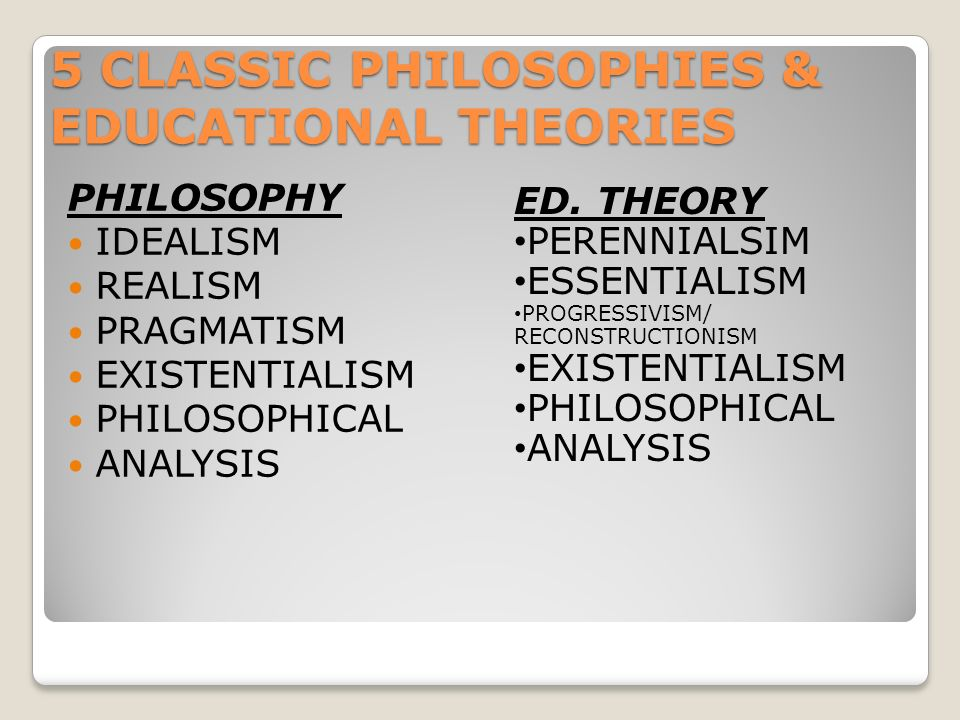 5 CLASSIC PHILOSOPHIES & EDUCATIONAL THEORIES PHILOSOPHY IDEALISM REALISM PRAGMATISM EXISTENTIALISM PHILOSOPHICAL ANALYSIS ED.