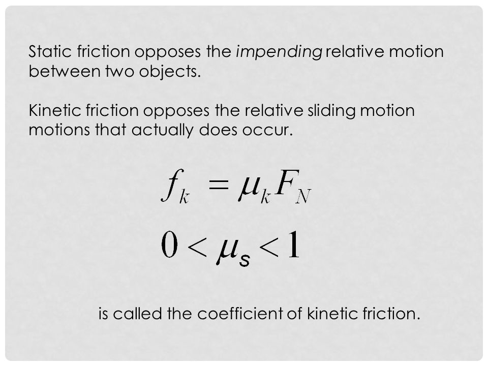 Static friction opposes the impending relative motion between two objects.