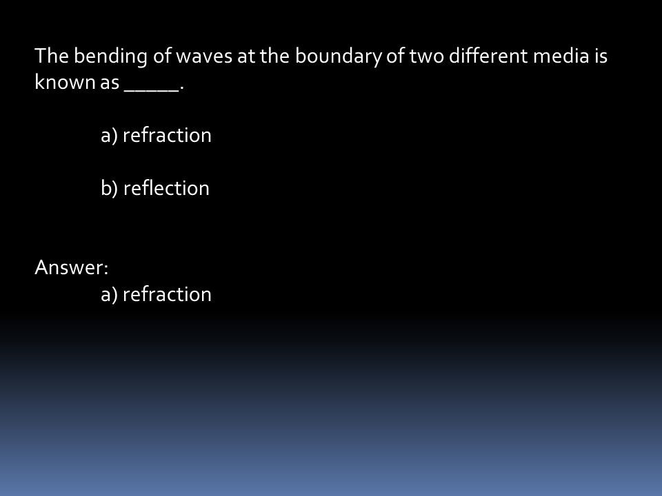 The bending of waves at the boundary of two different media is known as _____.