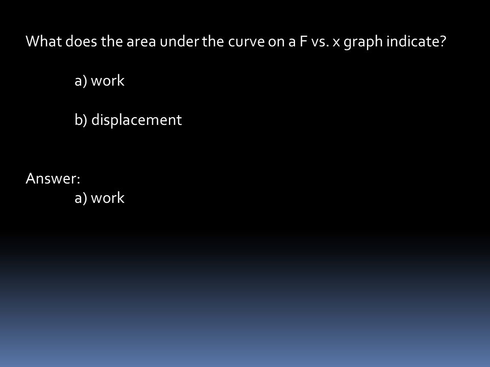 What does the area under the curve on a F vs. x graph indicate.
