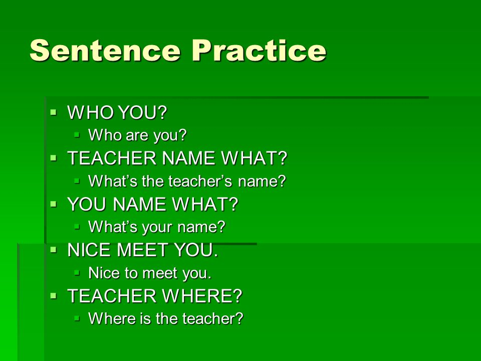 Sentence Practice  WHO YOU.  Who are you.  TEACHER NAME WHAT.