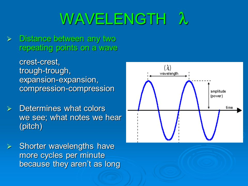 WAVELENGTH WAVELENGTH  Distance between any two repeating points on a wave crest-crest, trough-trough, expansion-expansion, compression-compression  Determines what colors we see; what notes we hear (pitch)  Shorter wavelengths have more cycles per minute because they aren't as long