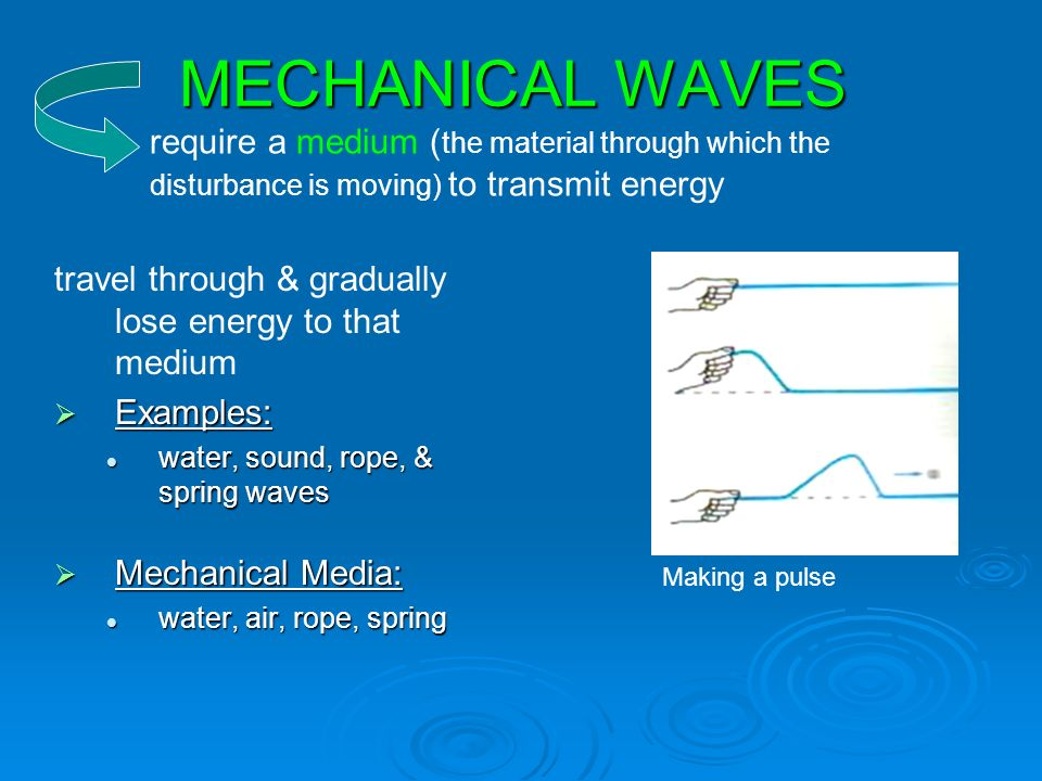 MECHANICAL WAVES travel through & gradually lose energy to that medium  Examples: water, sound, rope, & spring waves water, sound, rope, & spring waves  Mechanical Media: water, air, rope, spring water, air, rope, spring require a medium ( the material through which the disturbance is moving) to transmit energy Making a pulse