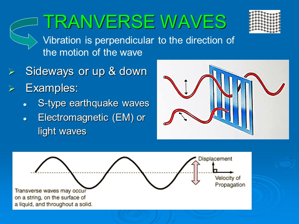 TRANVERSE WAVES  Sideways or up & down  Examples: S-type earthquake waves S-type earthquake waves Electromagnetic (EM) or light waves Electromagnetic (EM) or light waves Vibration is perpendicular to the direction of the motion of the wave
