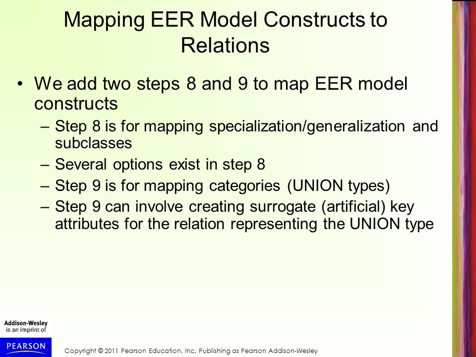 Mapping EER Model Constructs to Relations We add two steps 8 and 9 to map EER model constructs –Step 8 is for mapping specialization/generalization and subclasses –Several options exist in step 8 –Step 9 is for mapping categories (UNION types) –Step 9 can involve creating surrogate (artificial) key attributes for the relation representing the UNION type