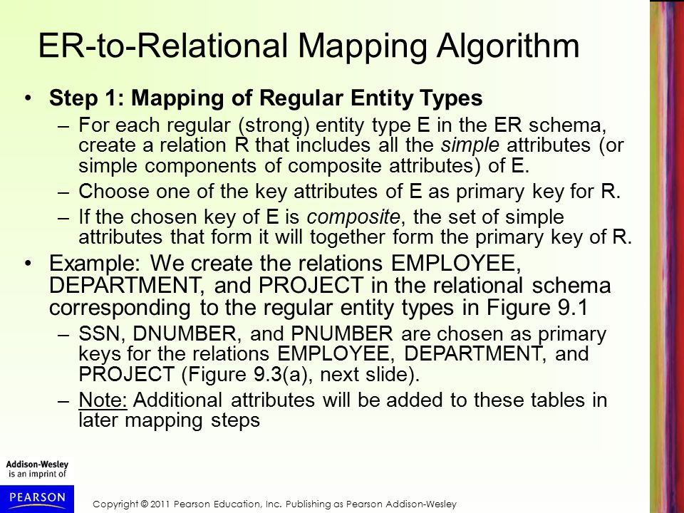 ER-to-Relational Mapping Algorithm Step 1: Mapping of Regular Entity Types –For each regular (strong) entity type E in the ER schema, create a relation R that includes all the simple attributes (or simple components of composite attributes) of E.