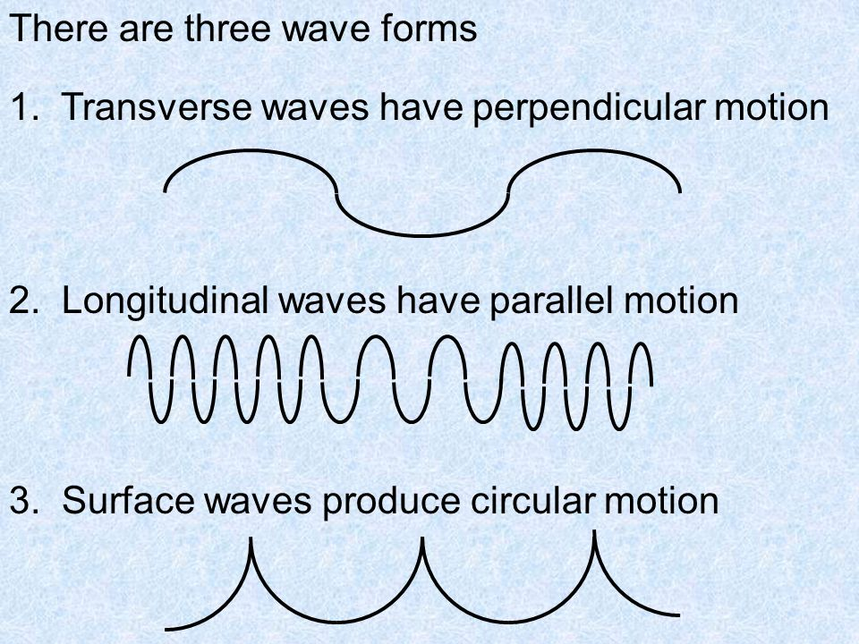 There are three wave forms 1. Transverse waves have perpendicular motion 2.