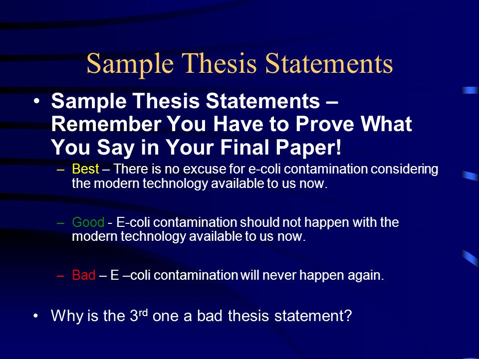 Thesis statement examples bad better best