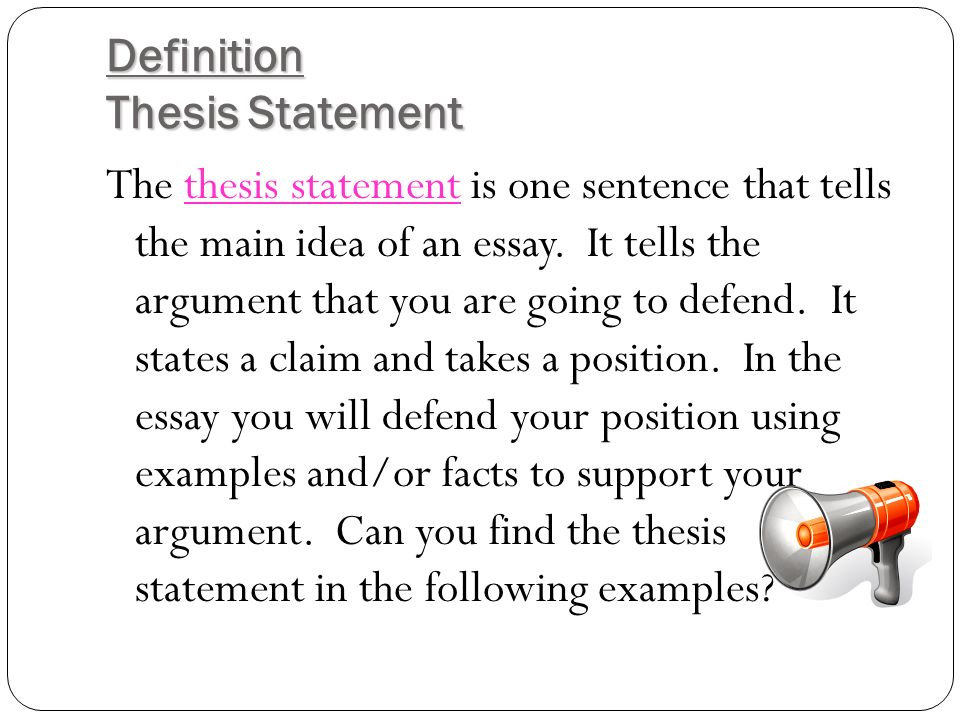 Thesis Statement One Sentence