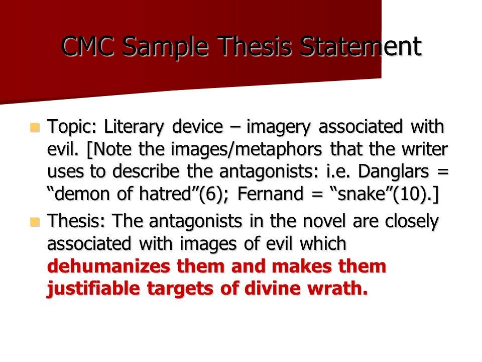 Literary Thesis Statement Examples