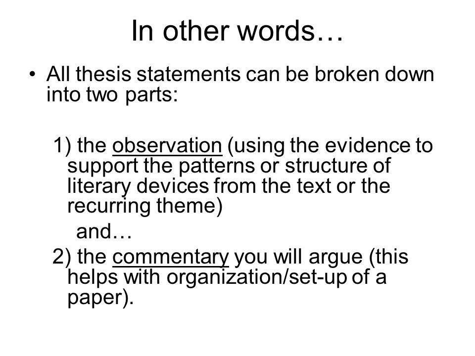 Create A Thesis Statement