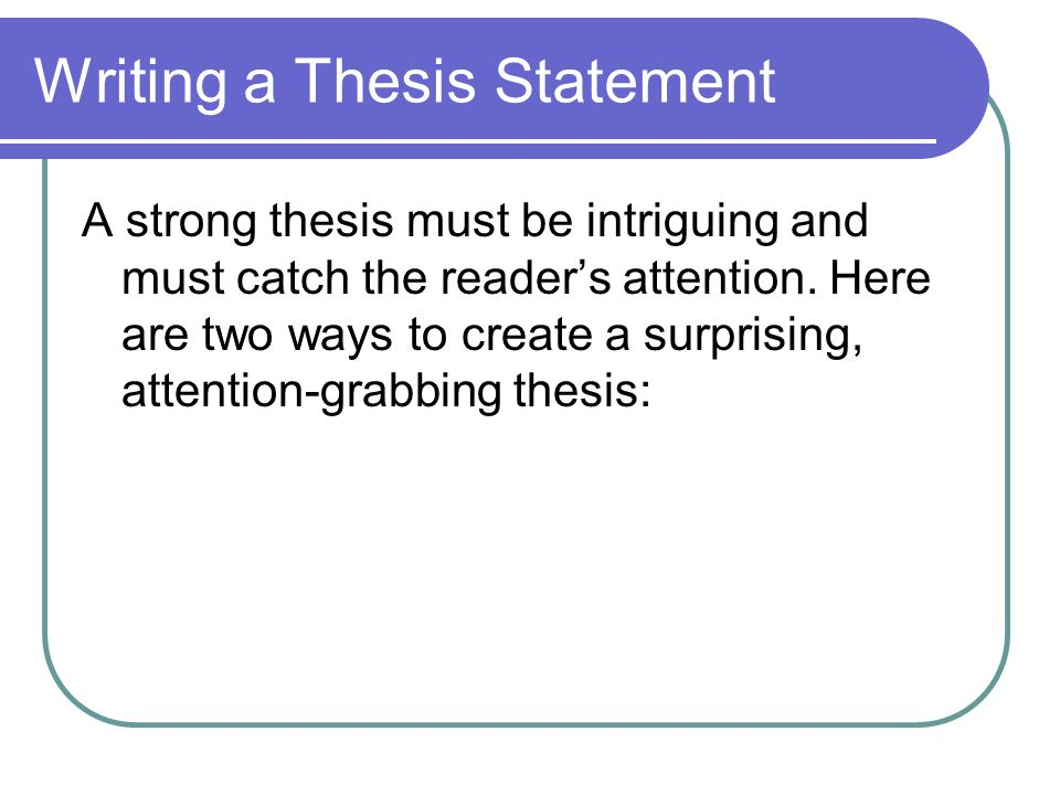 writing good argumentative thesis