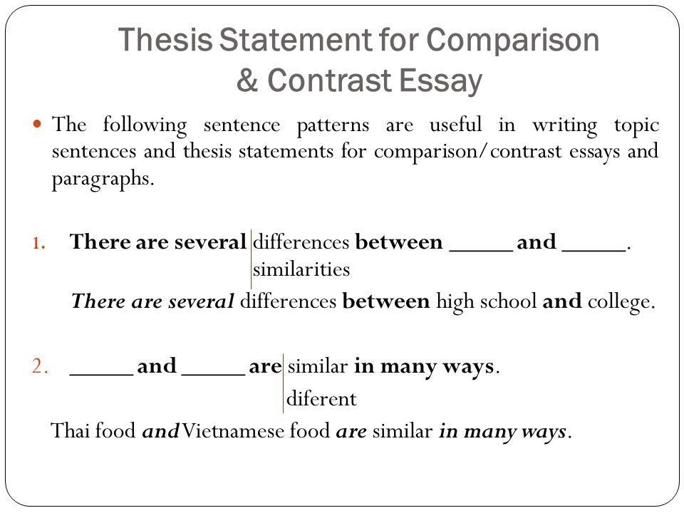 contrasting essay thesis Bookrags articles how to write a compare/contrast essay: how to write a compare/contrast essay it should restate the thesis in a new.
