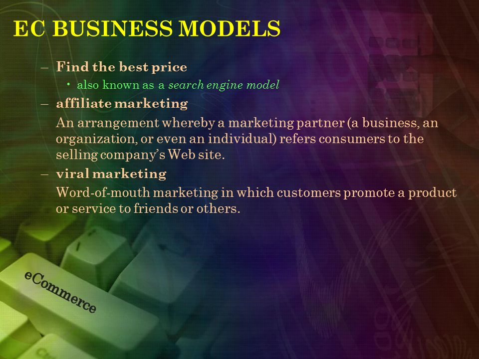 EC BUSINESS MODELS – Find the best price also known as a search engine model – affiliate marketing An arrangement whereby a marketing partner (a busin